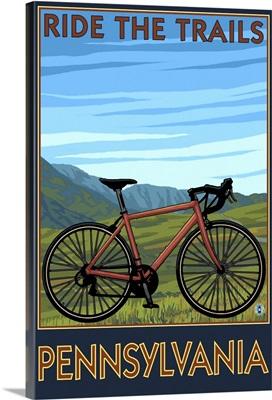 Pennsylvania - Mountain Bike Scene: Retro Travel Poster