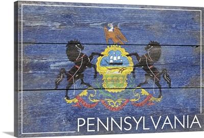 Pennsylvania State Flag on Wood