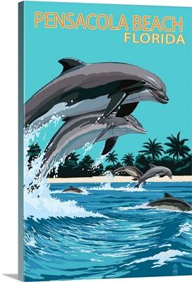 Pensacola Beach, Florida, Dolphins Jumping