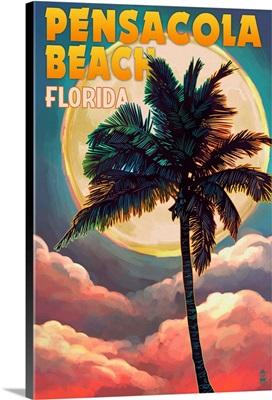 Pensacola Beach, Florida, Palm and Moon