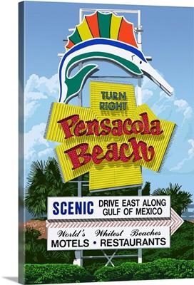 Pensacola Beach, Florida - Sign: Retro Travel Poster