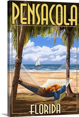 Pensacola, Florida - Palms and Hammock: Retro Travel Poster