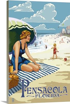 Pensacola, Florida - Woman on the Beach: Retro Travel Poster