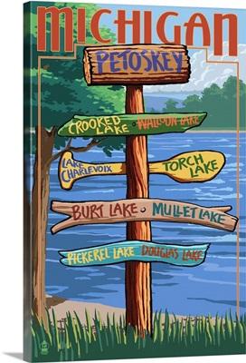 Petoskey, Michigan - Sign Destinations: Retro Travel Poster