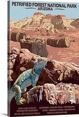 Petrified Forest National Park - Arizona: Retro Travel Poster