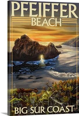 Pfeiffer Beach, California: Retro Travel Poster