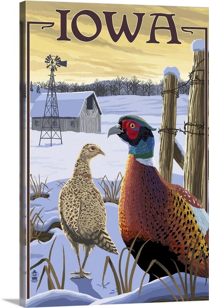 Pheasants - Iowa: Retro Travel Poster