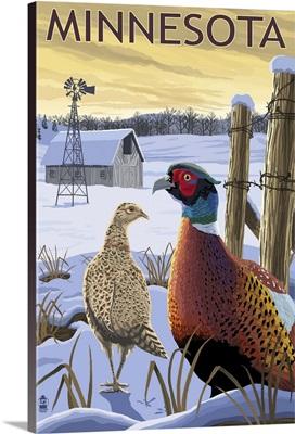 Pheasants - Minnesota: Retro Travel Poster