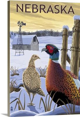 Pheasants - Nebraska: Retro Travel Poster