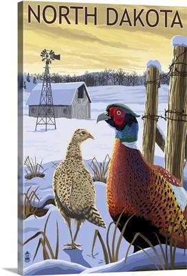 Pheasants - North Dakota: Retro Travel Poster