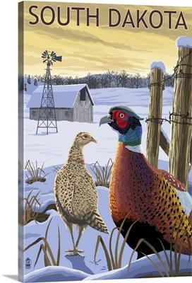 Pheasants - South Dakota: Retro Travel Poster