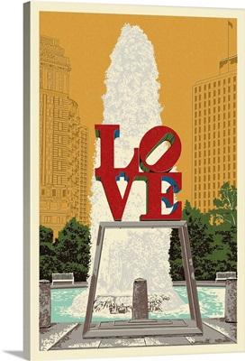 Philadelphia, Pennsylvania - Love Statue - Letterpress: Retro Travel Poster