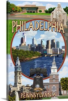 Philadelphia, Pennsylvania - Montage: Retro Travel Poster