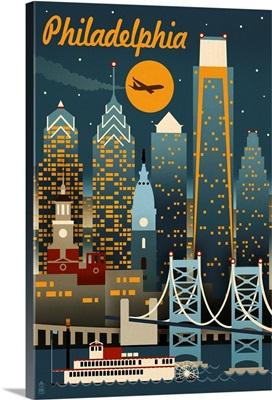 Philadelphia, Pennsylvania - Retro Skyline: Retro Travel Poster