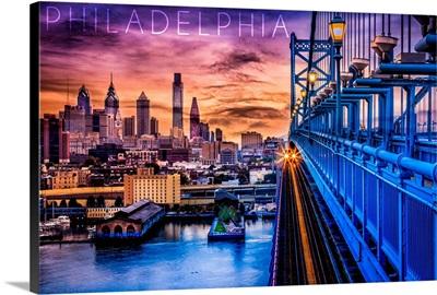 Philadelphia, Pennsylvania, Skyline and Bridge Sunset