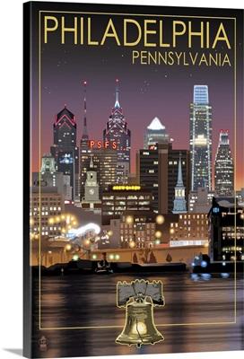 Philadelphia, Pennsylvania - Skyline at Night: Retro Travel Poster