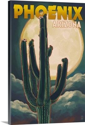 Phoenix, Arizona, Cactus and Full Moon