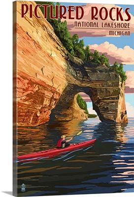 Pictured Rocks National Lakeshore, Michigan: Retro Travel Poster