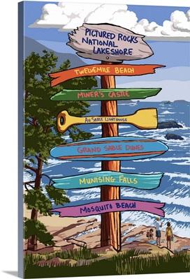 Pictured Rocks National Lakeshore, Michigan, Signpost