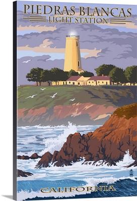 Piedras Blancas Light Station - California: Retro Travel Poster