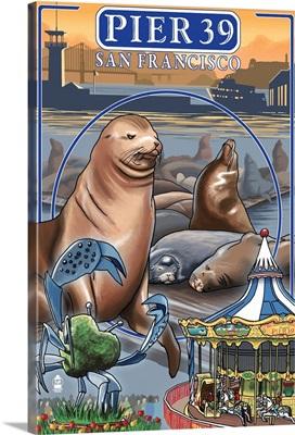 Pier 39 - San Francisco, CA: Retro Travel Poster