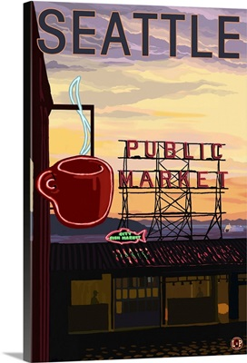 Pike Place Market - Sign and Water: Retro Travel Poster