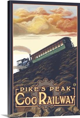 Pikes Peak Cog Railroad, Colorado: Retro Travel Poster