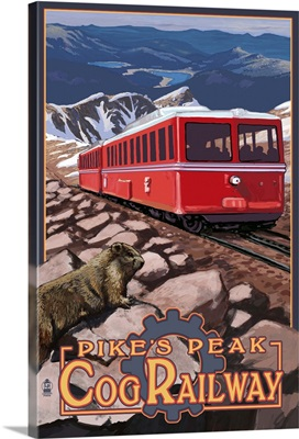 Pikes Peak Cog Railway - Swiss Locomotive: Retro Travel Poster