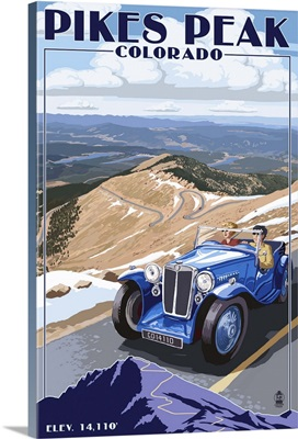Pikes Peak, Colorado - Auto Road Scene: Retro Travel Poster