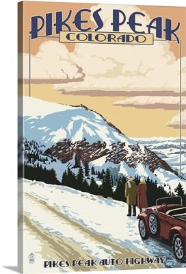 Pikes Peak, Colorado - Winter Scene from Pikes Peak Highway: Retro Travel Poster
