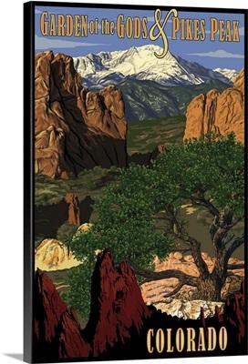 Pikes Peak from Garden of the Gods, Colorado: Retro Travel Poster