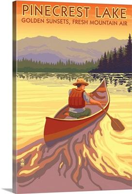 Pinecrest Lake, California - Canoe Scene: Retro Travel Poster