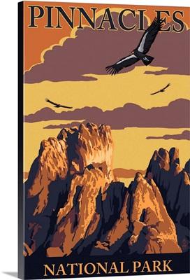 Pinnacles National Park - Condors: Retro Travel Poster