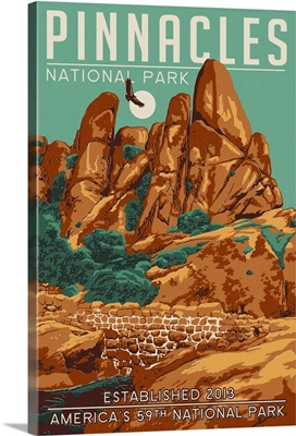 Pinnacles National Park - WPA Formations and Condor: Retro Travel Poster