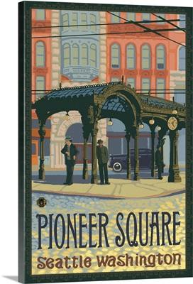 Pioneer Square Pergola: Retro Travel Poster