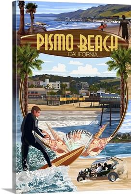Pismo Beach, California - Montage Scenes: Retro Travel Poster