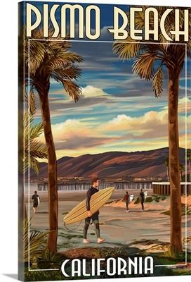 Pismo Beach, California - Surfer and Pier: Retro Travel Poster