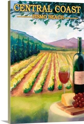 Pismo Beach, California - Wine Country: Retro Travel Poster
