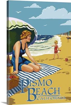 Pismo Beach, California - Woman and Beach Scene: Retro Travel Poster