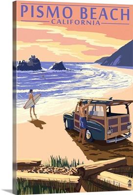 Pismo Beach, California - Woody and Beach: Retro Travel Poster