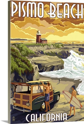 Pismo Beach, California - Woody and Lighthouse: Retro Travel Poster