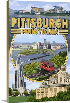 Pittsburgh, Pennsylvania - Montage Scenes: Retro Travel Poster