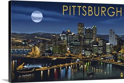 Pittsburgh, Pennsylvania - Skyline at Night: Retro Travel Poster