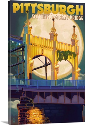 Pittsburgh, Pennsylvania - Smithfield St. Bridge and Moon: Retro Travel Poster