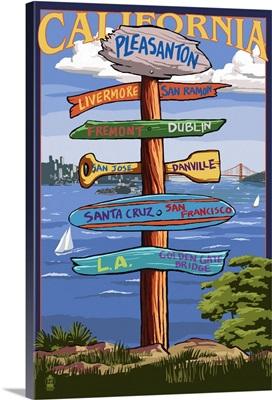 Pleasanton, California - Destination Sign: Retro Travel Poster