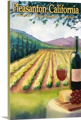 Pleasanton, California Wine Country: Retro Travel Poster