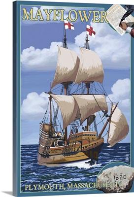 Plymouth, Massachusetts - Mayflower: Retro Travel Poster