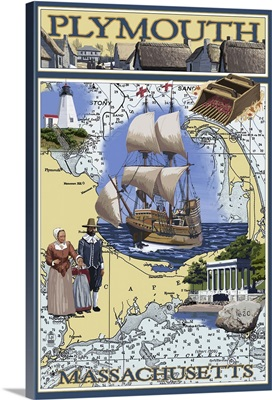 Plymouth, Massachusetts - Nautical Chart: Retro Travel Poster