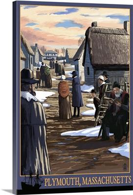 Plymouth, Massachusetts - Pilgrims going to Church: Retro Travel Poster