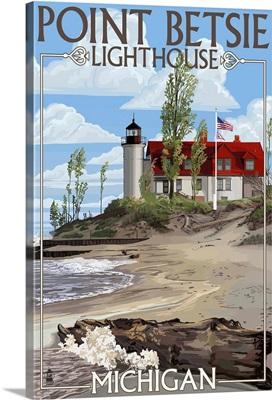 Point Betsie Lighthouse, Michigan: Retro Travel Poster